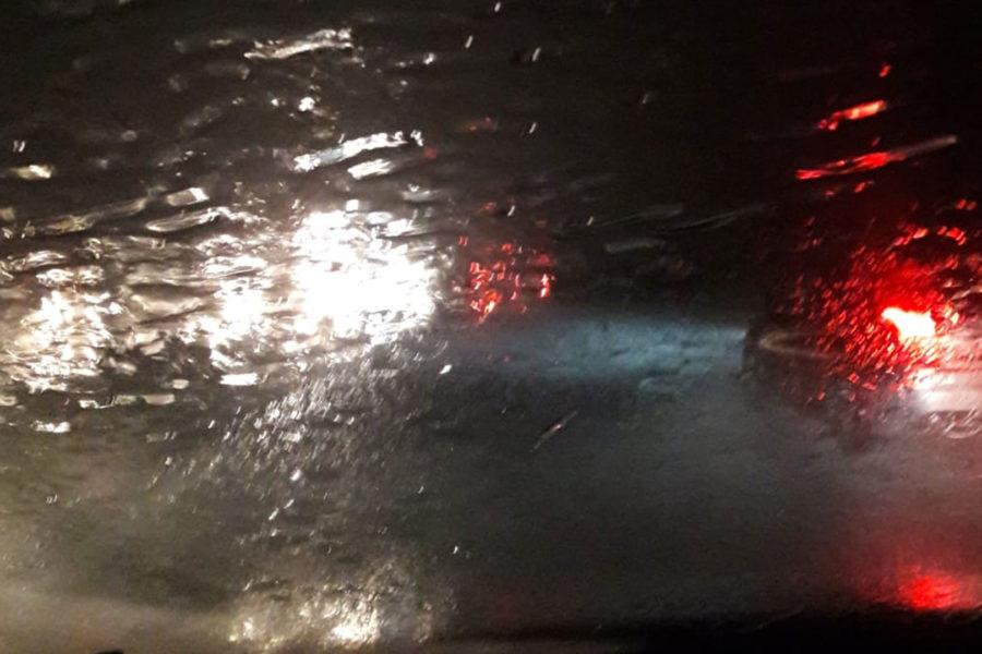 Motorway strong rain